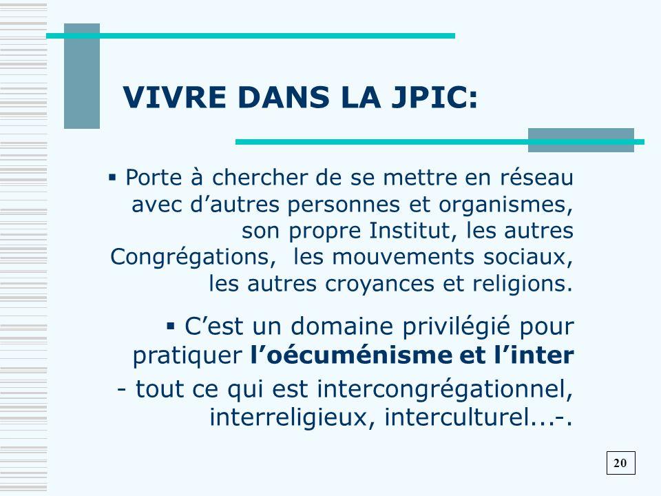 VIVRE DANS LA JPIC: Porte à chercher de se mettre en réseau avec d'autres personnes et organismes,