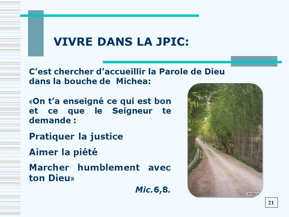VIVRE DANS LA JPIC: Pratiquer la justice Aimer la piété
