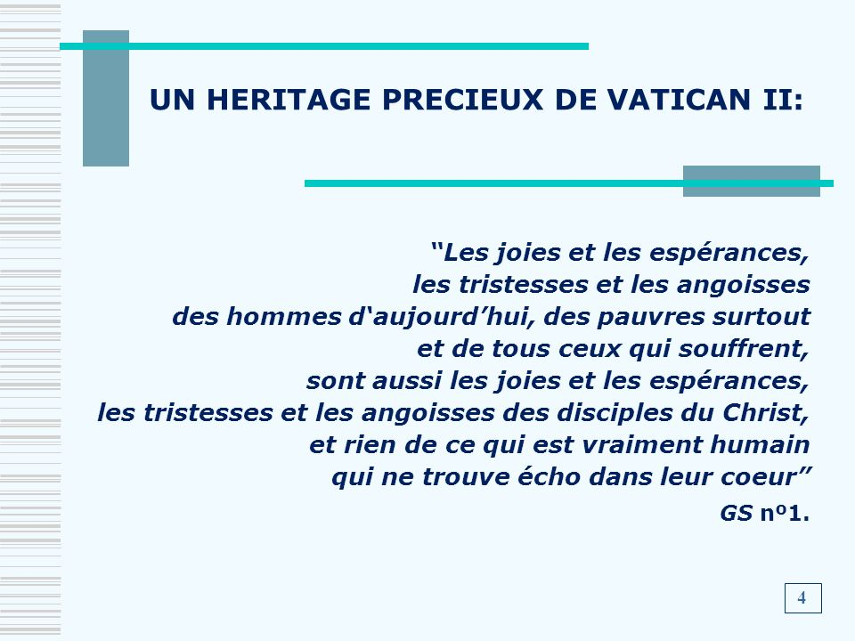 UN HERITAGE PRECIEUX DE VATICAN II: