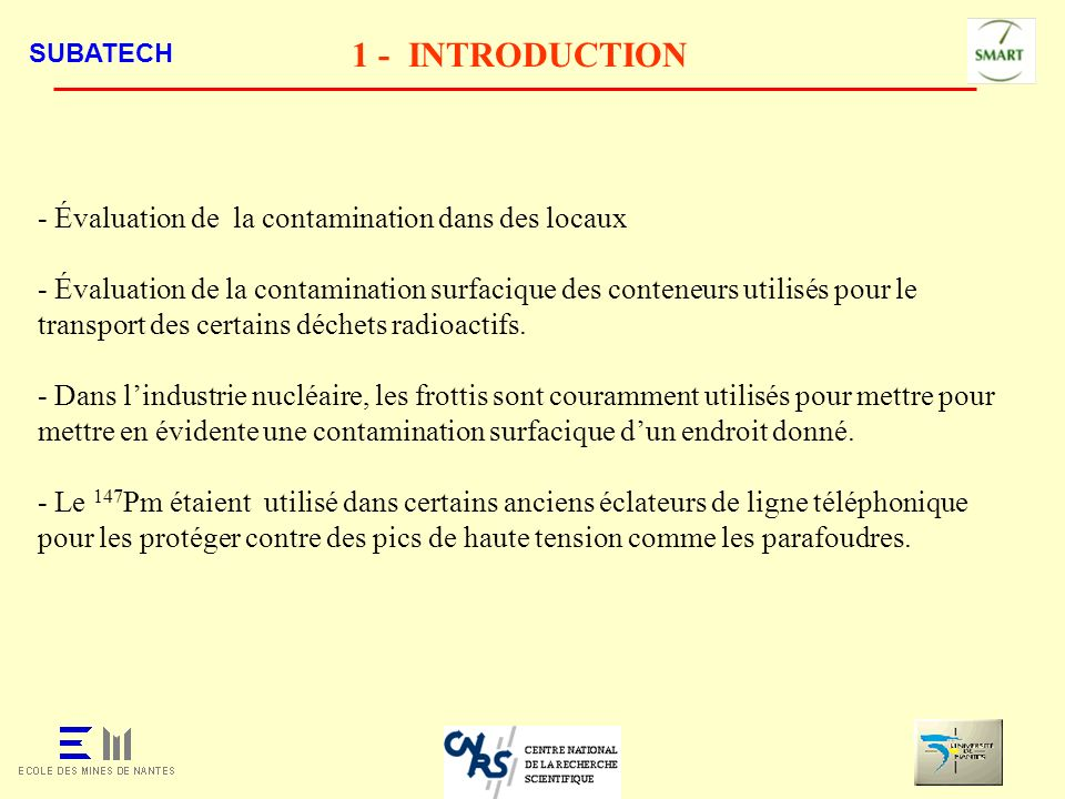 1 - INTRODUCTION - Évaluation de la contamination dans des locaux