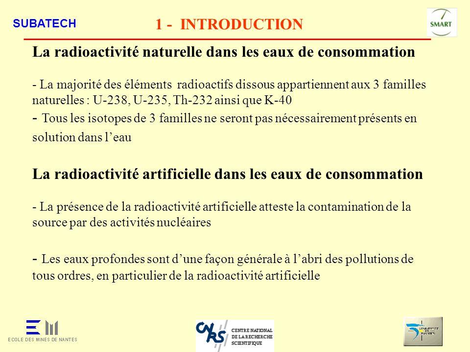 La radioactivité naturelle dans les eaux de consommation
