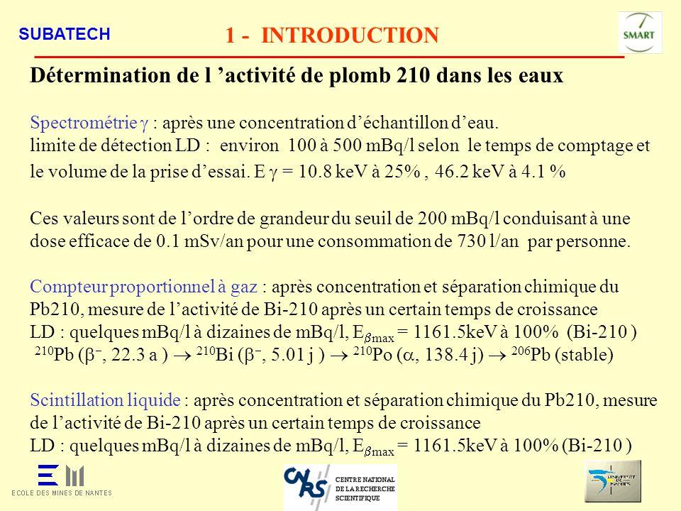 Détermination de l 'activité de plomb 210 dans les eaux