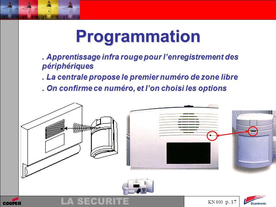 Programmation . Apprentissage infra rouge pour l'enregistrement des périphériques. . La centrale propose le premier numéro de zone libre.