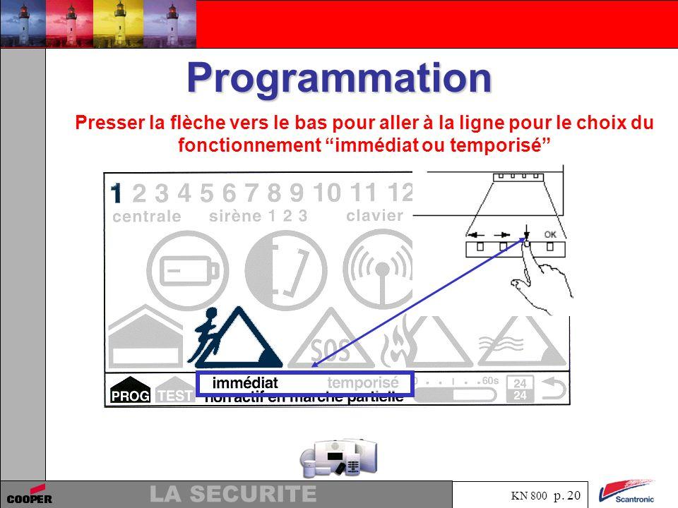 Programmation Presser la flèche vers le bas pour aller à la ligne pour le choix du fonctionnement immédiat ou temporisé
