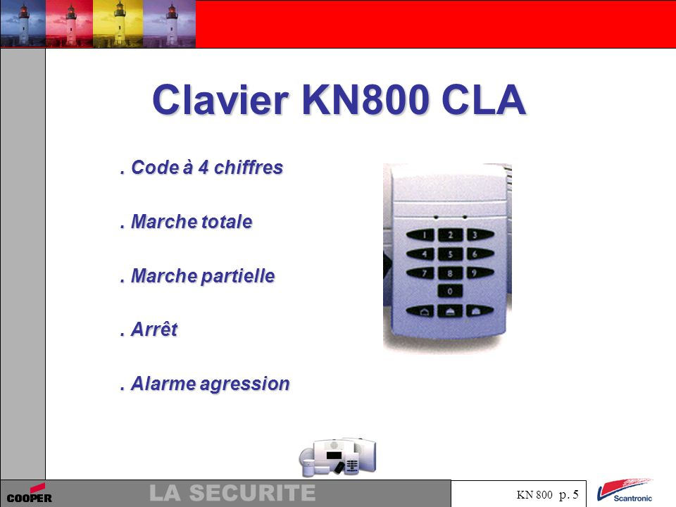 Clavier KN800 CLA . Code à 4 chiffres . Marche totale