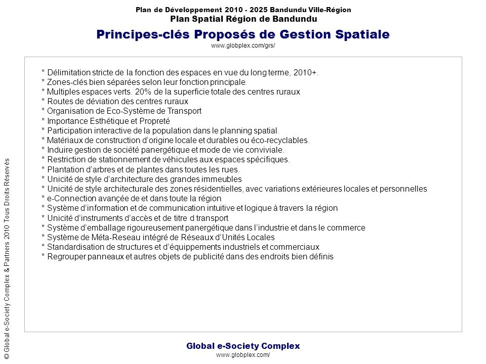 Principes-clés Proposés de Gestion Spatiale www.globplex.com/grs/