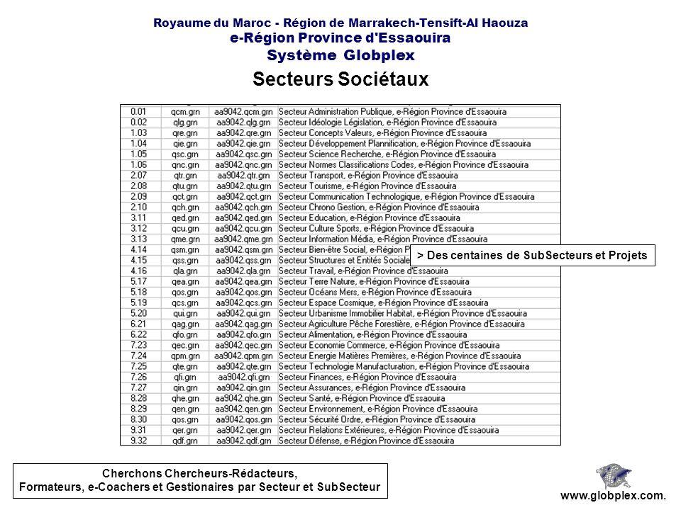 Royaume du Maroc - Région de Marrakech-Tensift-Al Haouza e-Région Province d Essaouira Système Globplex