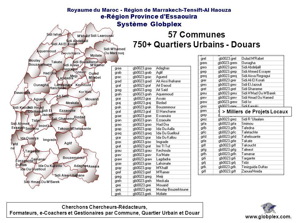 57 Communes 750+ Quartiers Urbains - Douars