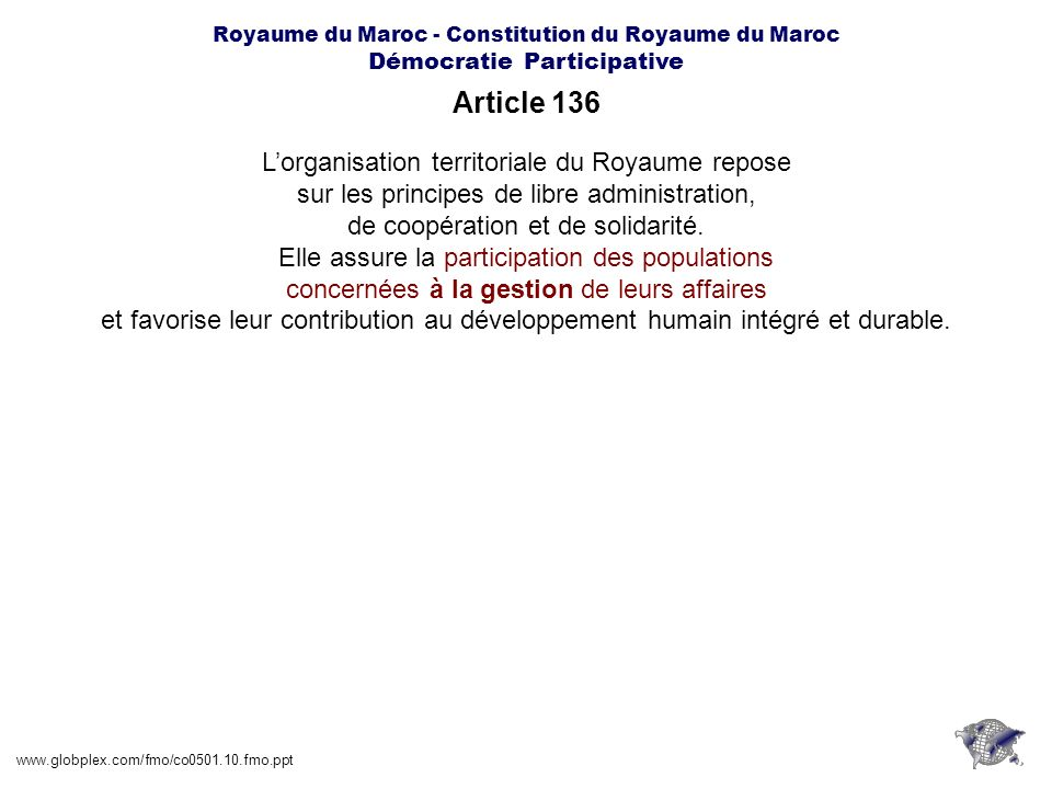 Article 136 L'organisation territoriale du Royaume repose