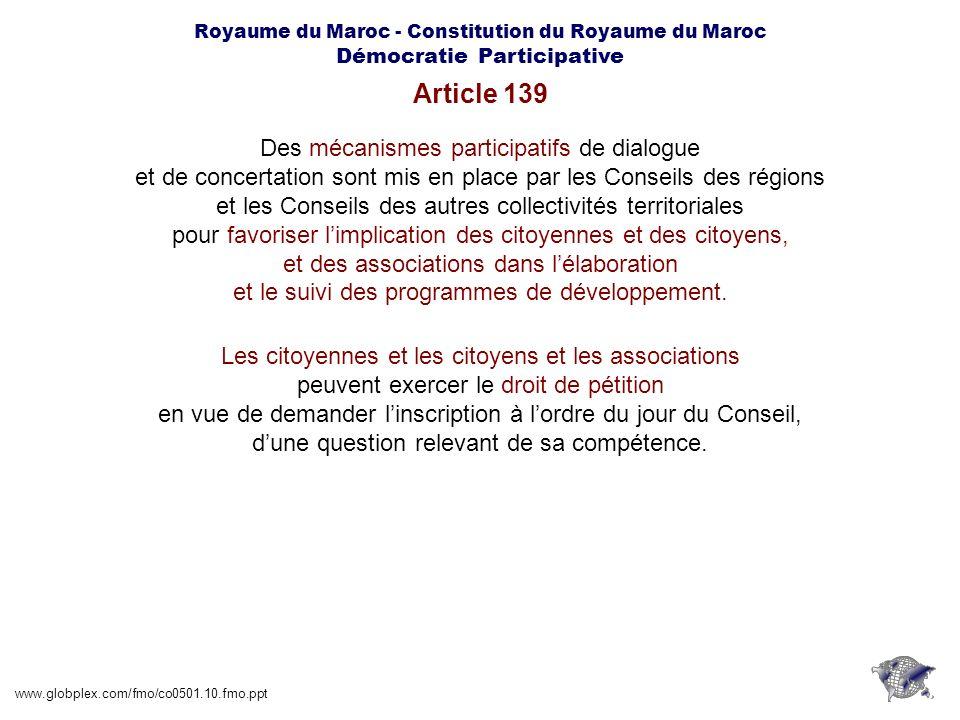 Article 139 Des mécanismes participatifs de dialogue
