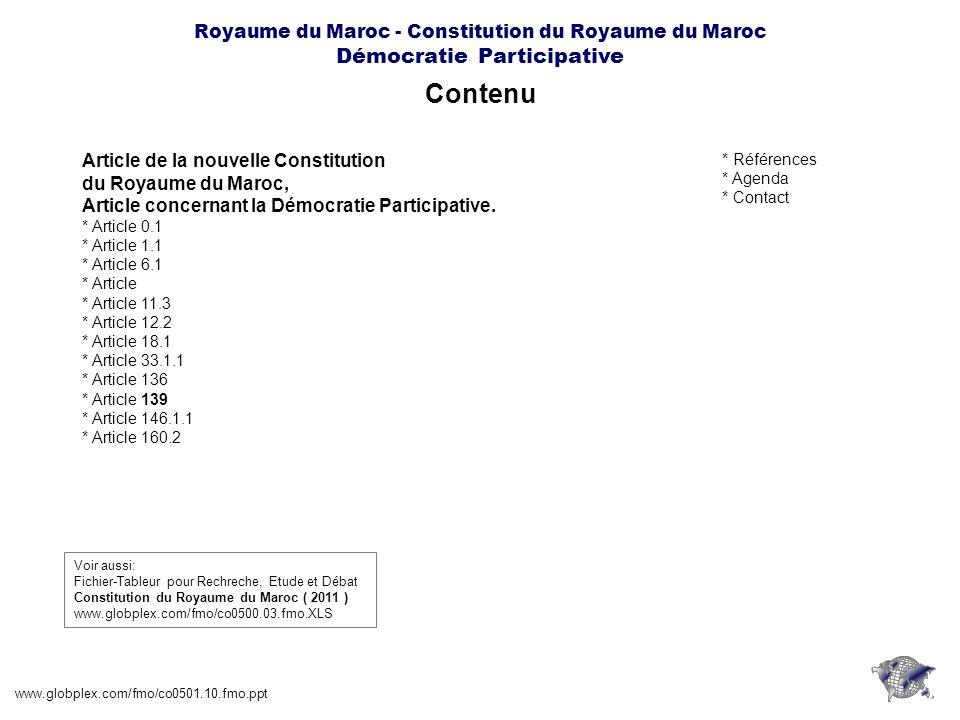 Royaume du Maroc - Constitution du Royaume du Maroc Démocratie Participative