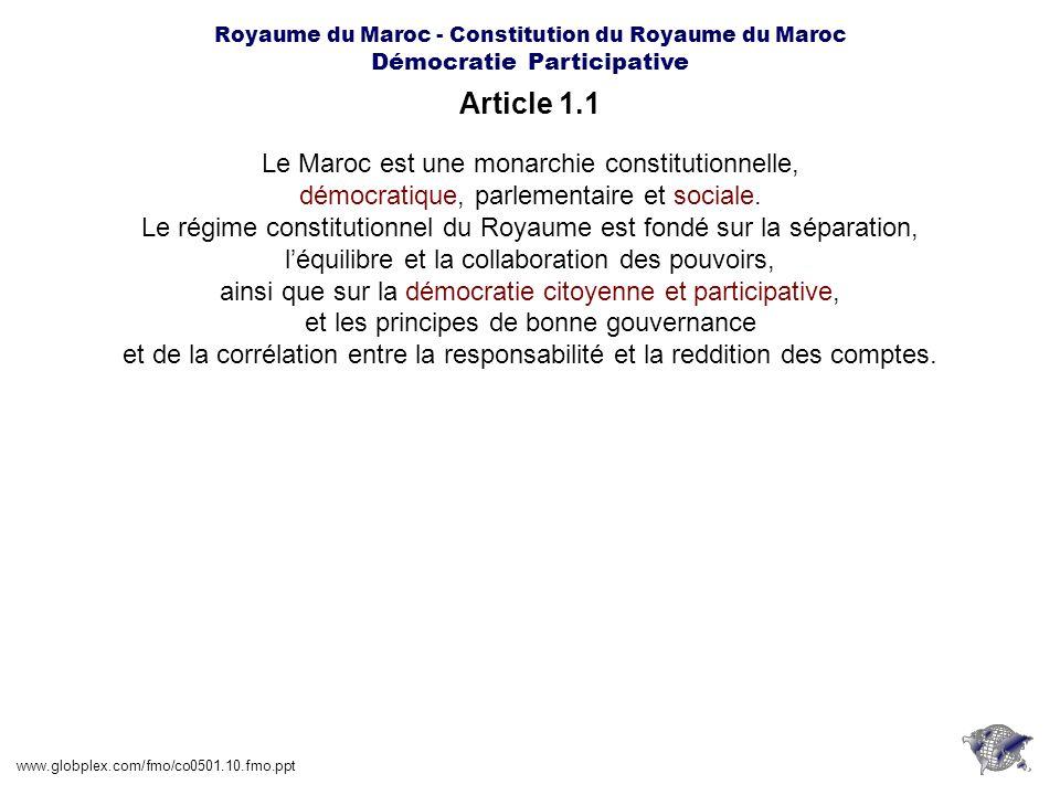 Article 1.1 Le Maroc est une monarchie constitutionnelle,