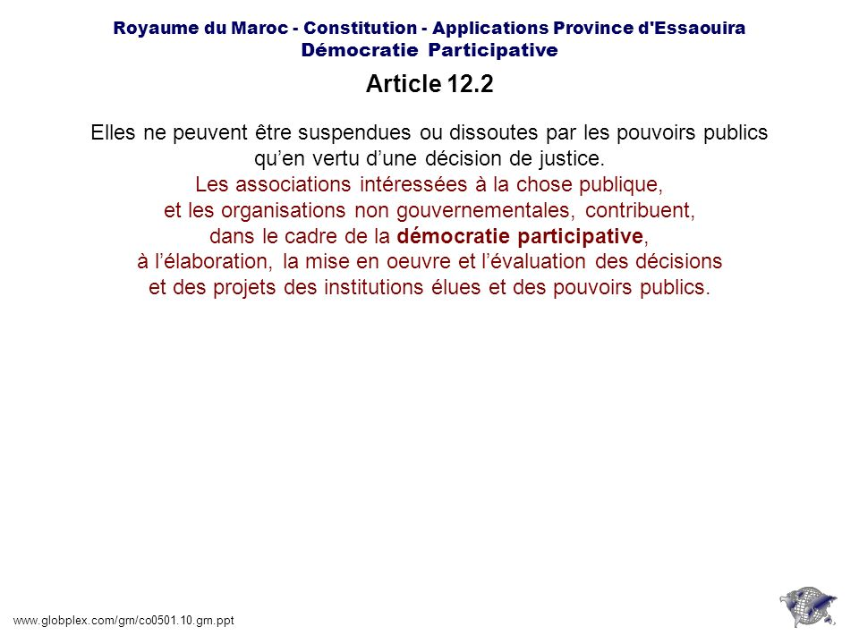 Royaume du Maroc - Constitution - Applications Province d Essaouira Démocratie Participative