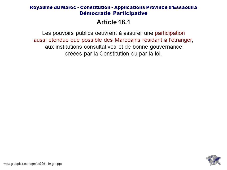 Article 18.1 Les pouvoirs publics oeuvrent à assurer une participation
