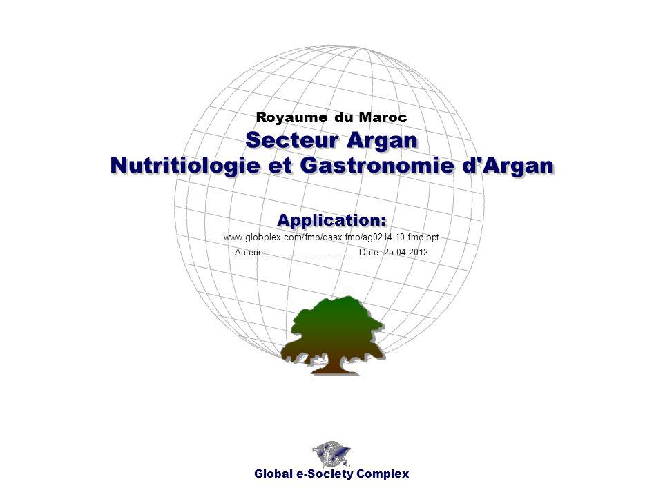 Nutritiologie et Gastronomie d Argan