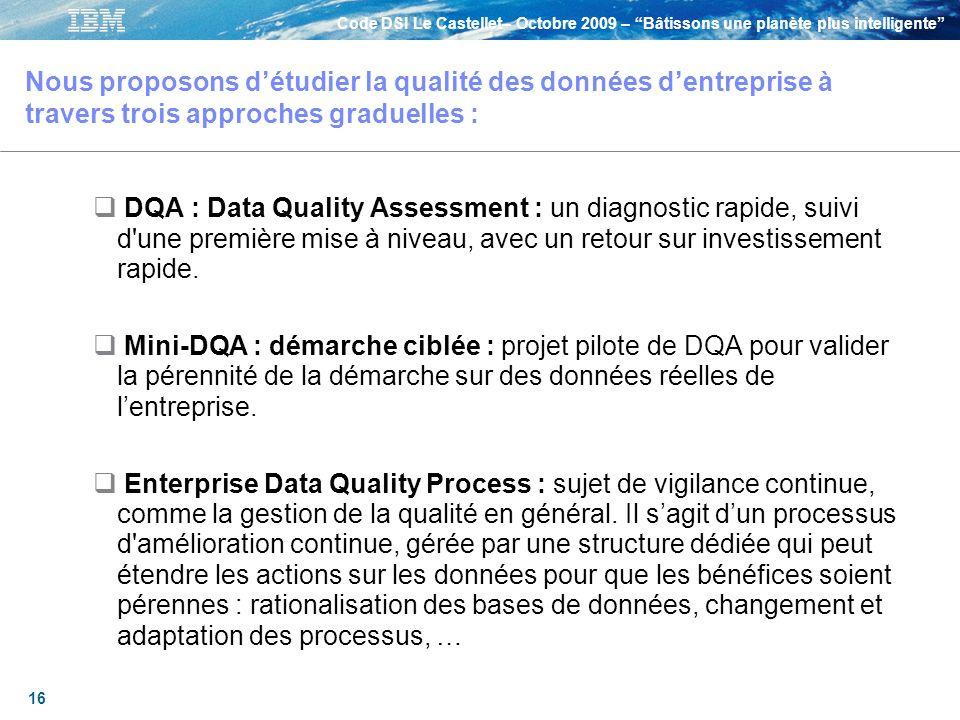 Nous proposons d'étudier la qualité des données d'entreprise à travers trois approches graduelles :