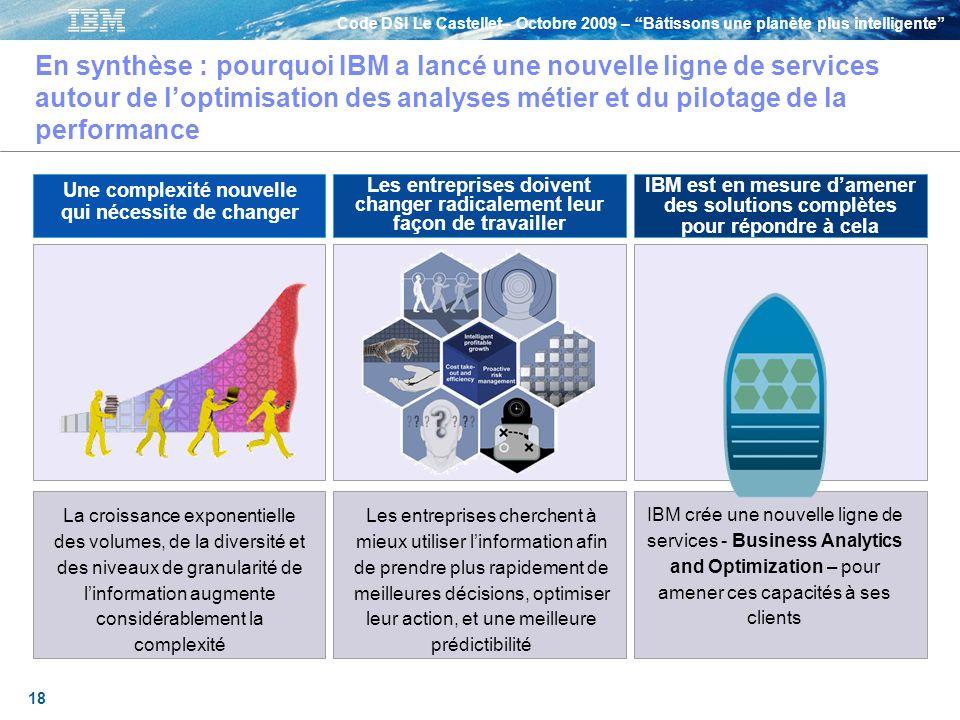En synthèse : pourquoi IBM a lancé une nouvelle ligne de services autour de l'optimisation des analyses métier et du pilotage de la performance