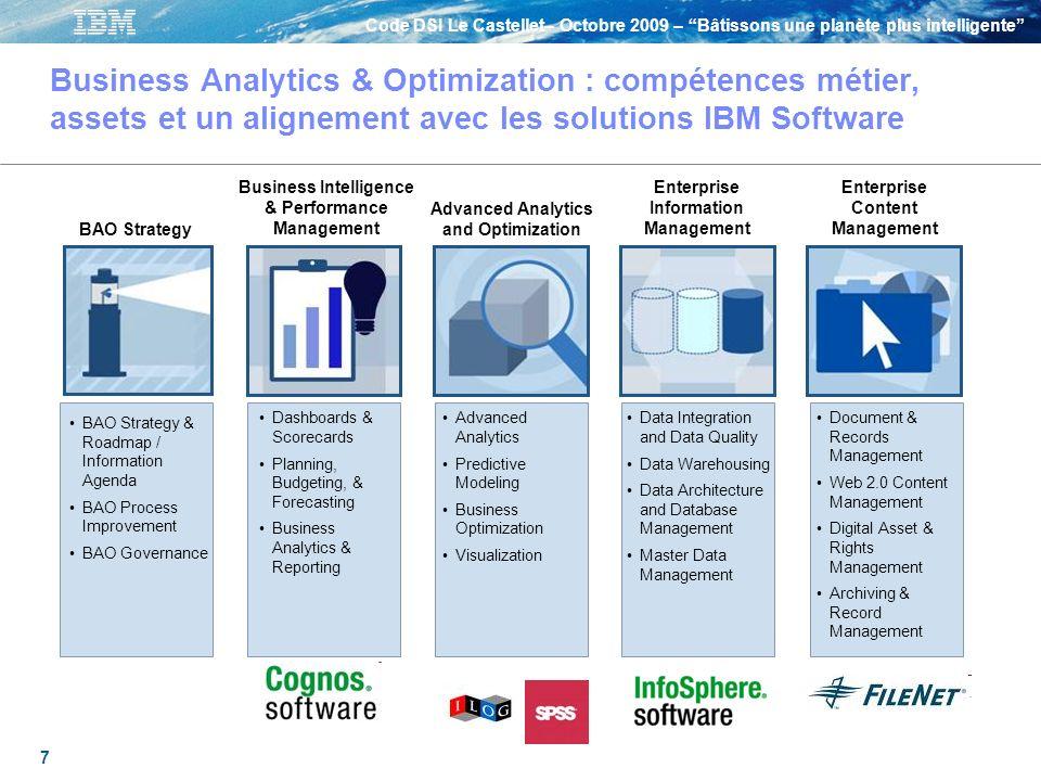 Business Analytics & Optimization : compétences métier, assets et un alignement avec les solutions IBM Software