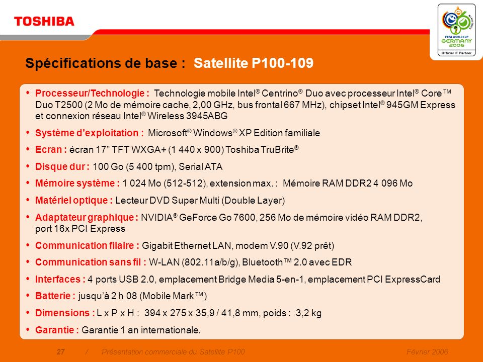 Spécifications de base : Satellite P100-109