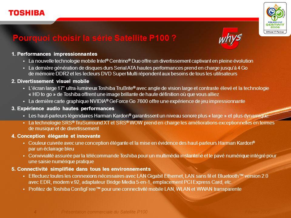 Pourquoi choisir la série Satellite P100
