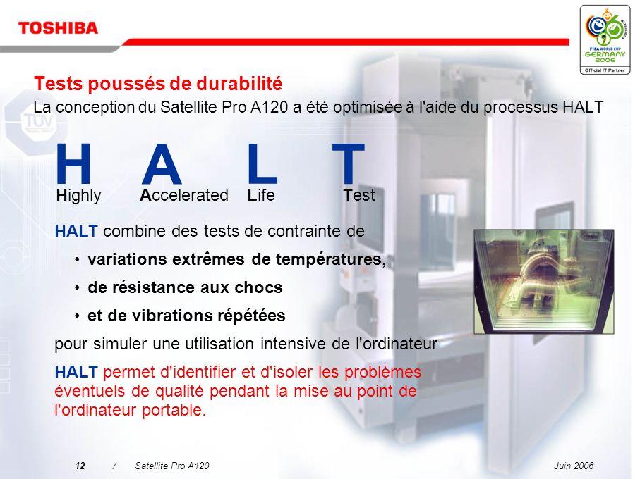 Tests poussés de durabilité La conception du Satellite Pro A120 a été optimisée à l aide du processus HALT