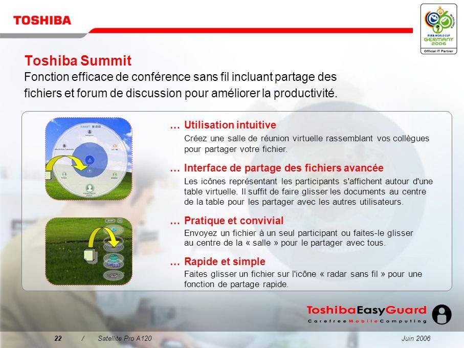Toshiba Summit Fonction efficace de conférence sans fil incluant partage des fichiers et forum de discussion pour améliorer la productivité.