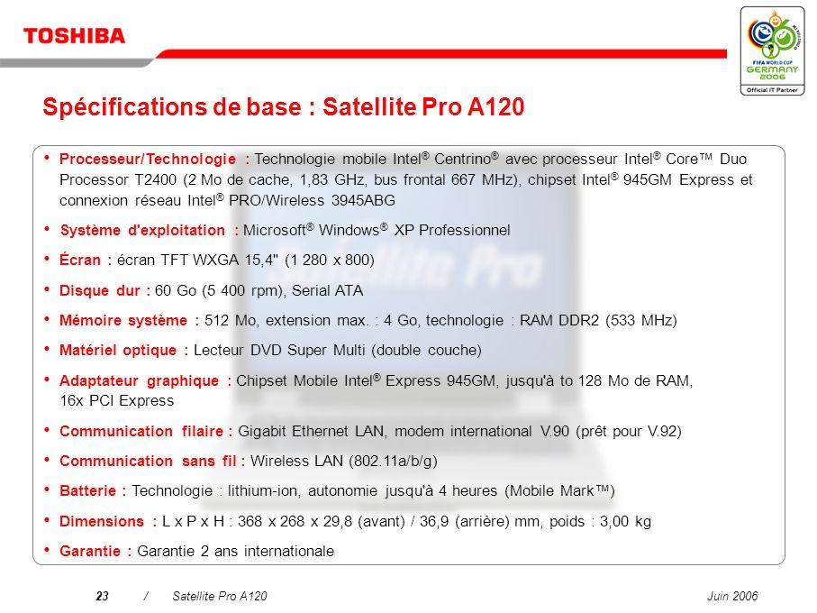 Spécifications de base : Satellite Pro A120