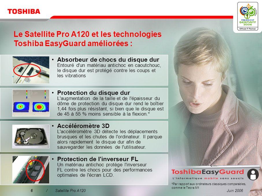 Le Satellite Pro A120 et les technologies Toshiba EasyGuard améliorées :
