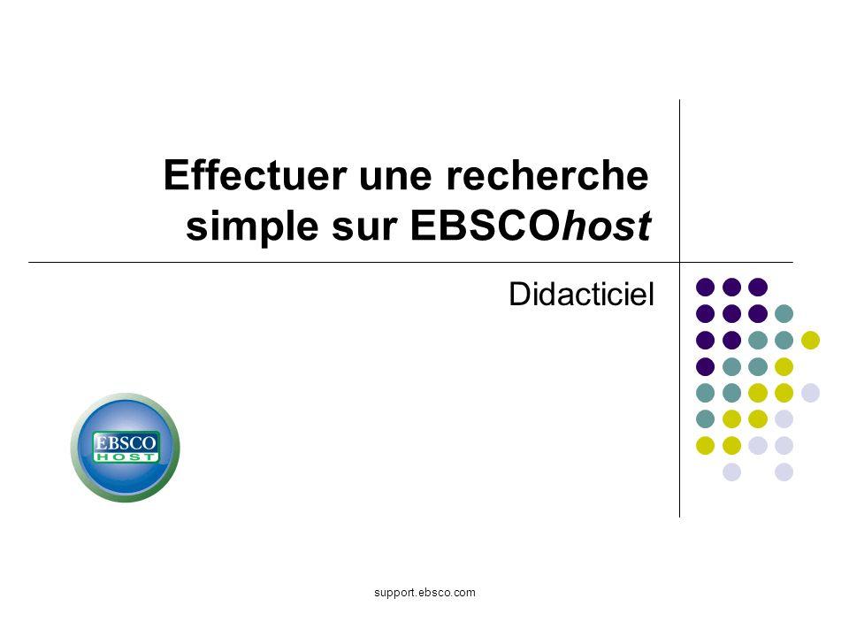 Effectuer une recherche simple sur EBSCOhost