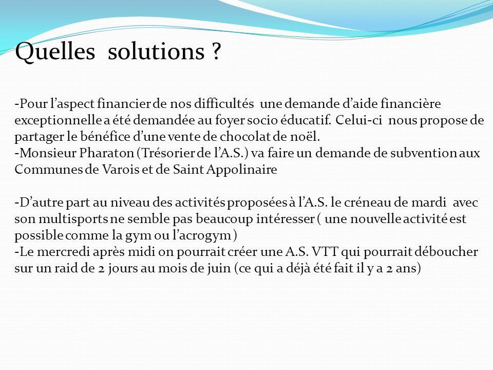 Quelles solutions