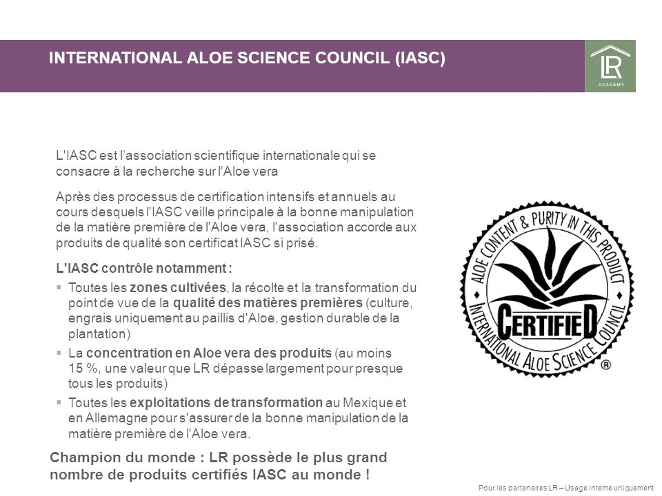 INTERNATIONAL ALOE SCIENCE COUNCIL (IASC)
