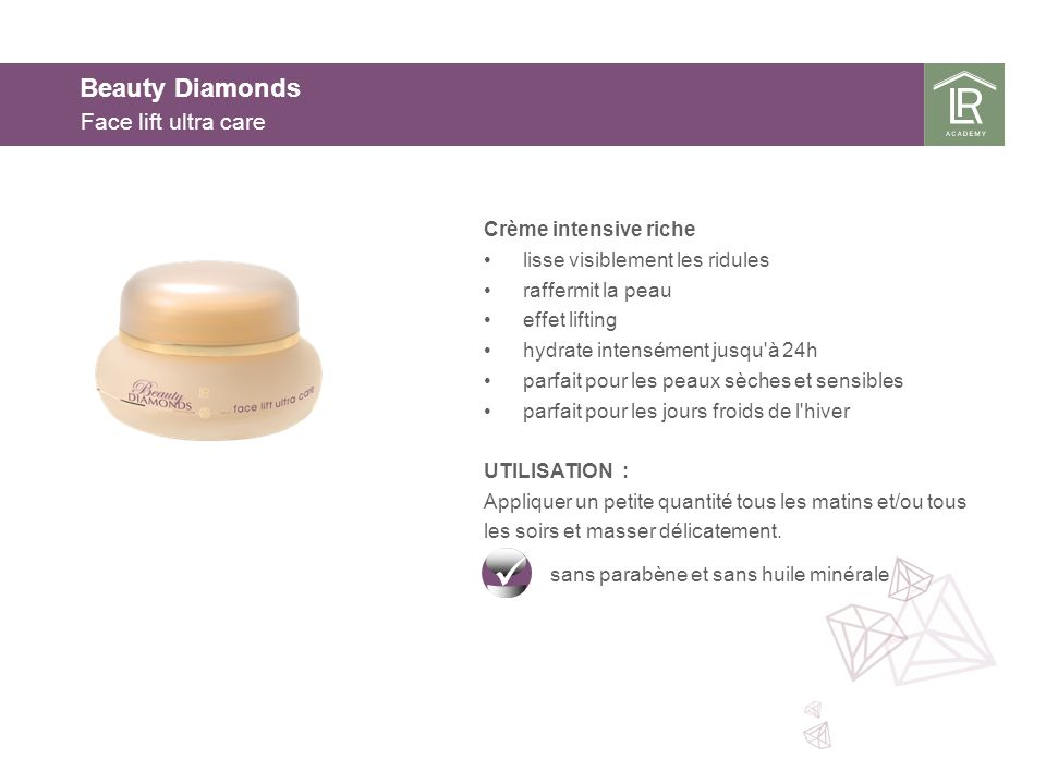 Beauty Diamonds Face lift ultra care Crème intensive riche