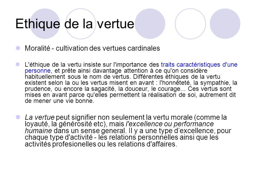 Ethique de la vertue Moralité - cultivation des vertues cardinales