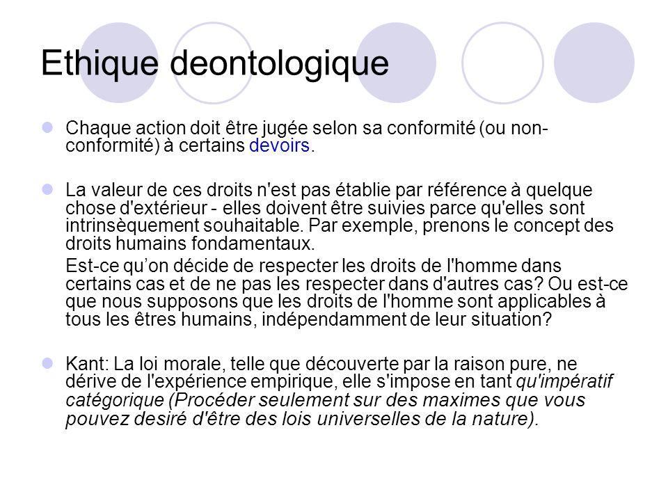 Ethique deontologique