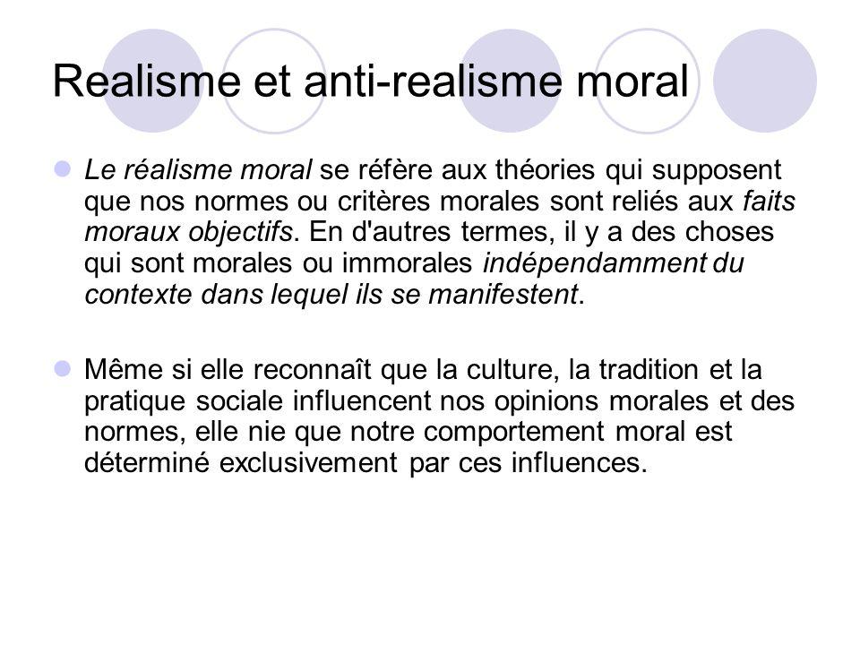 Realisme et anti-realisme moral