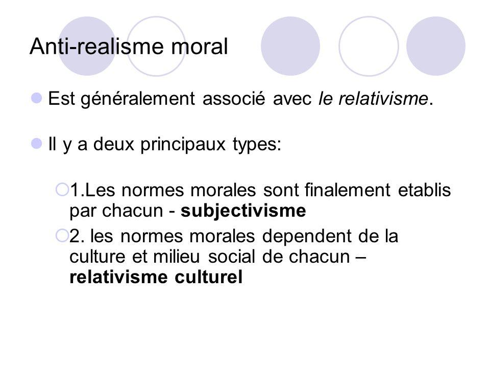 Anti-realisme moral Est généralement associé avec le relativisme.