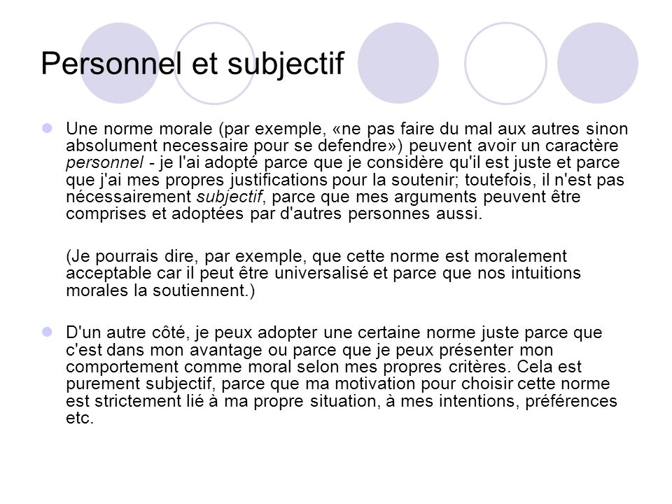 Personnel et subjectif