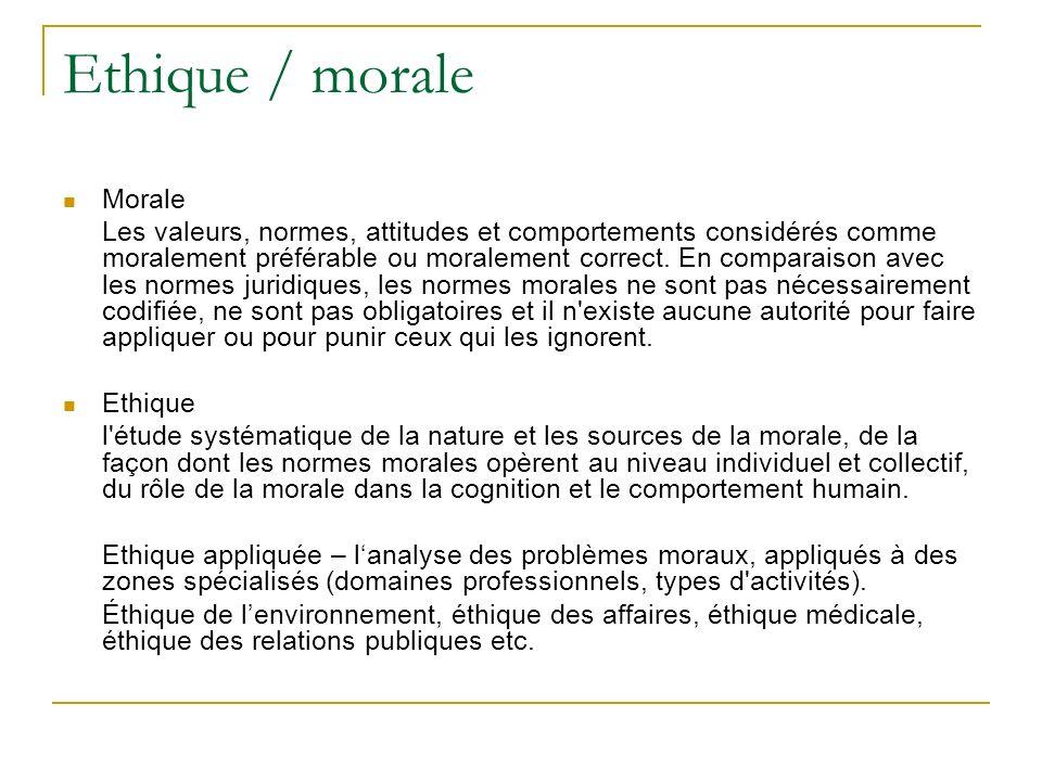 Ethique / morale Morale