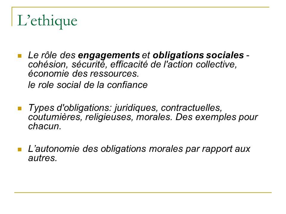 L'ethiqueLe rôle des engagements et obligations sociales - cohésion, sécurité, efficacité de l action collective, économie des ressources.