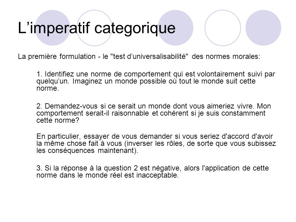 L'imperatif categorique