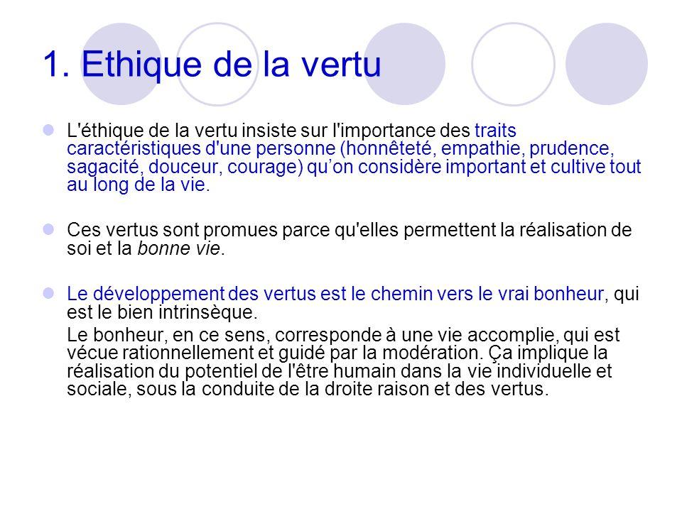 1. Ethique de la vertu