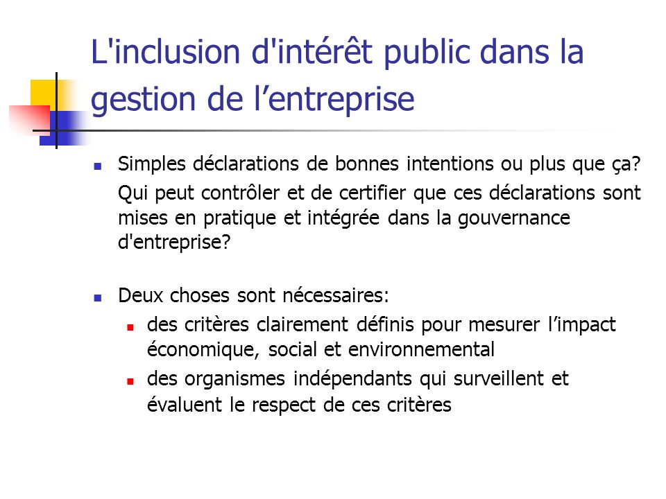 L inclusion d intérêt public dans la gestion de l'entreprise