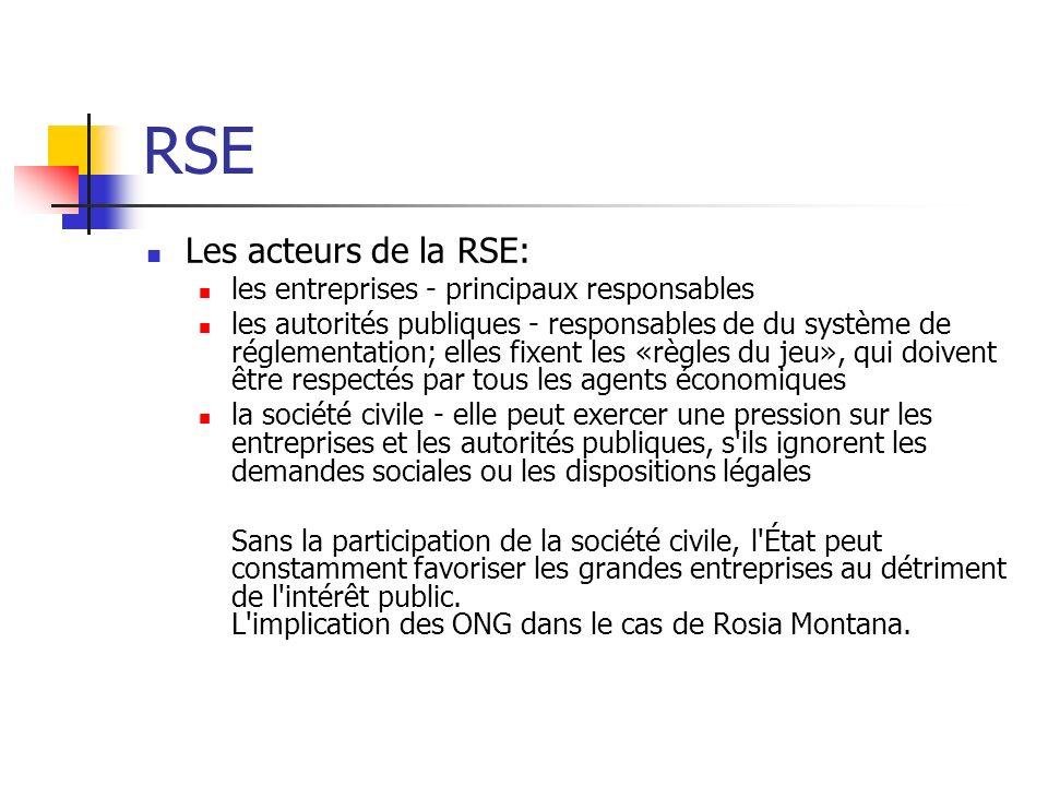 RSE Les acteurs de la RSE: les entreprises - principaux responsables