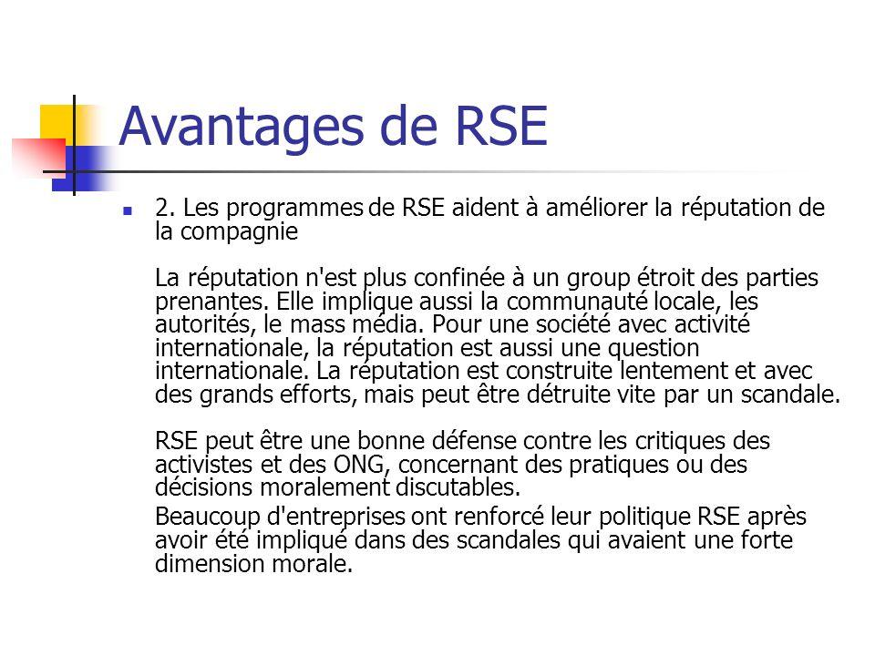Avantages de RSE