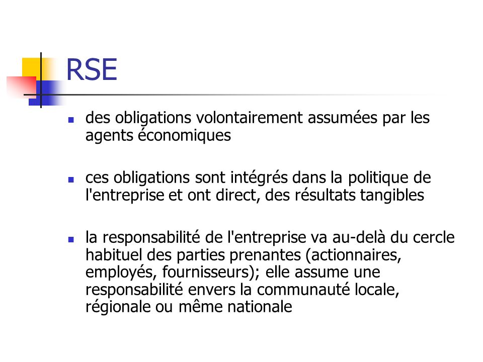RSE des obligations volontairement assumées par les agents économiques