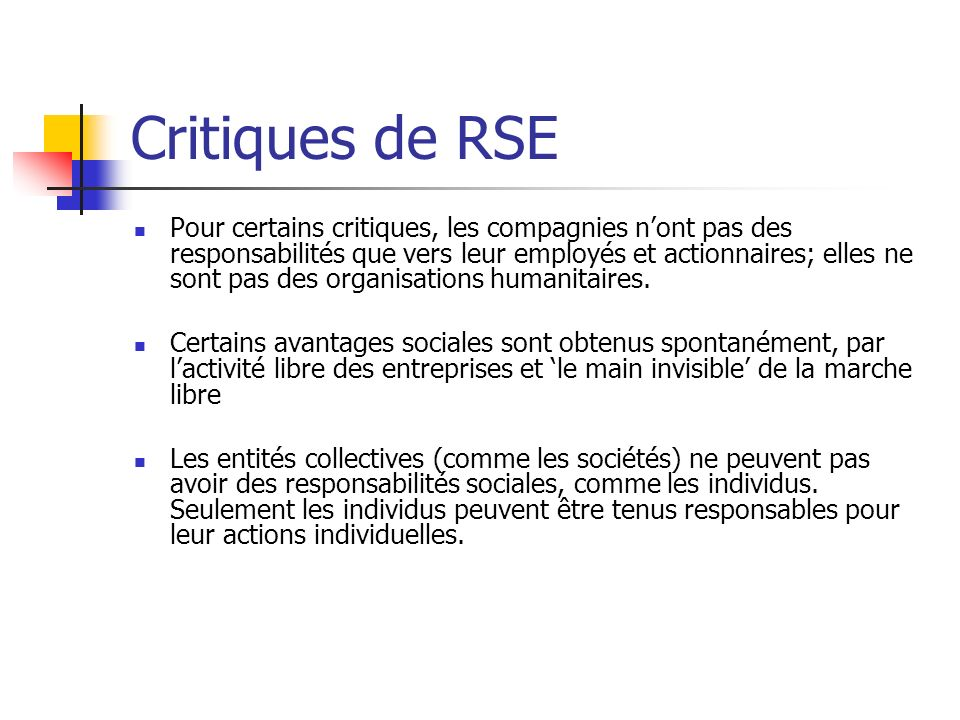 Critiques de RSE
