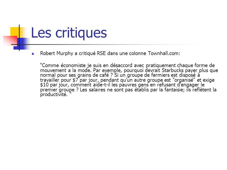 Les critiques Robert Murphy a critiqué RSE dans une colonne Townhall.com:
