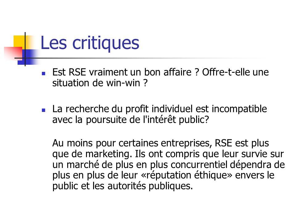 Les critiques Est RSE vraiment un bon affaire Offre-t-elle une situation de win-win
