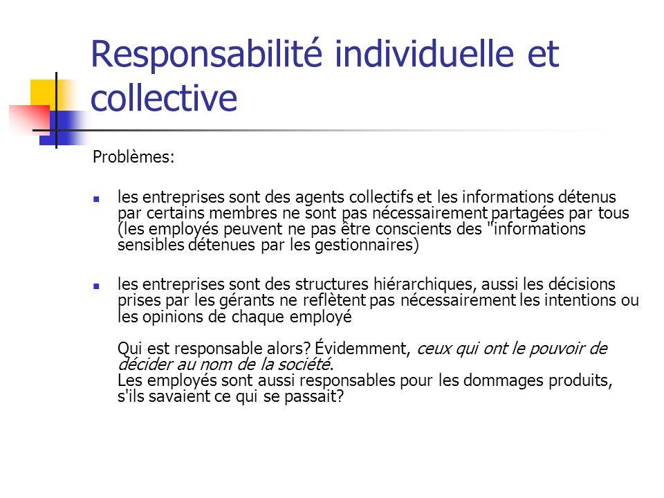 Responsabilité individuelle et collective