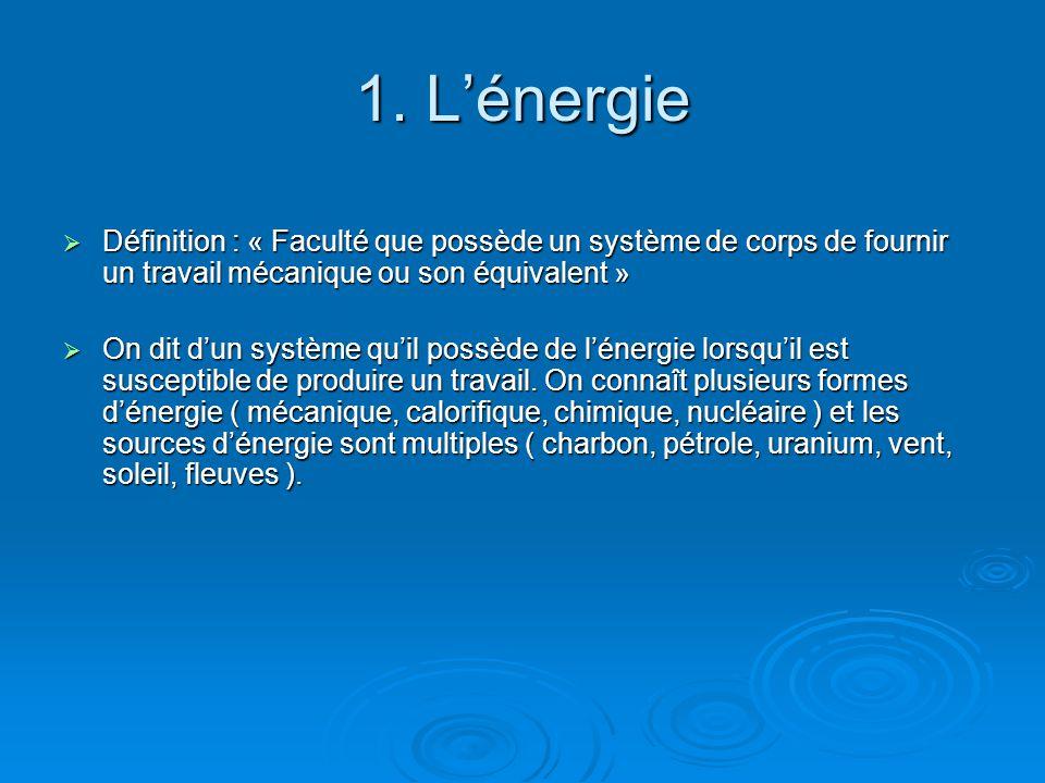 1. L'énergie Définition : « Faculté que possède un système de corps de fournir un travail mécanique ou son équivalent »
